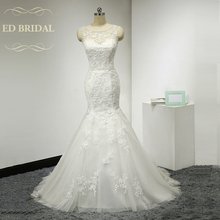 Open Back Mermaid Wedding Dress with Beaded Venice Lace Appliques Illusion Neckline Backless Wedding Gown China Bridal