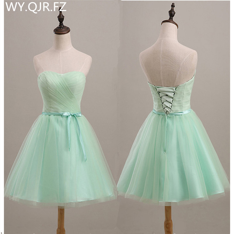Sjzl70l Mint Green Short Lace Up Bridesmaid Dresses Wedding Party Prom Dress Spring And Summer 2018 New Whole