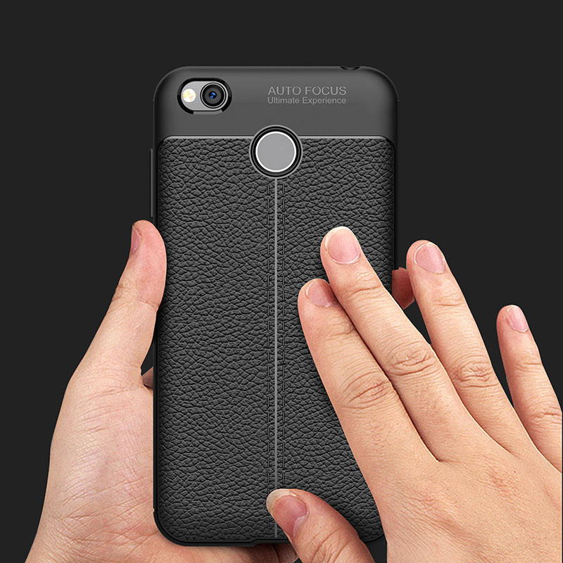 Luxury Shock Proof Phone Case for Xiaomi Redmi 4 4X Cack Cover for Redmi Note 4X 32GB Soft Silicon Litchi Striae Leather Case