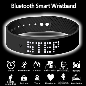 Image 4 - smart wristband 3D fitness tracker Bluetooth bracelet waterproof led display watch for huawei xiaomi Android IOS 2019 newversion