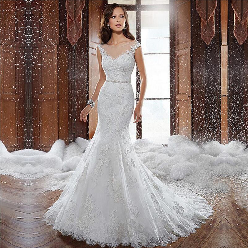 Fansmile New Vestido De Noiva White Lace Mermaid Wedding Dress 2019 Train Plus Size Customized Wedding Gown Bride Dress FSM-580M