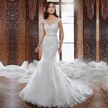 Fansmile New Vestido De Noiva White Lace Mermaid Wedding Dress 2020 Train Plus Size Customized Wedding Gown Bride Dress FSM 580M