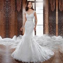 Fansmile جديد Vestido De Noiva الأبيض الدانتيل حورية البحر فستان الزفاف 2020 قطار حجم كبير مخصص ثوب زفاف فستان عروس FSM 580M