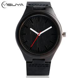 Креативные бамбуковые часы для мужчин, Красные кварцевые женские наручные часы, модный черный циферблат, элегантный кожаный ремешок