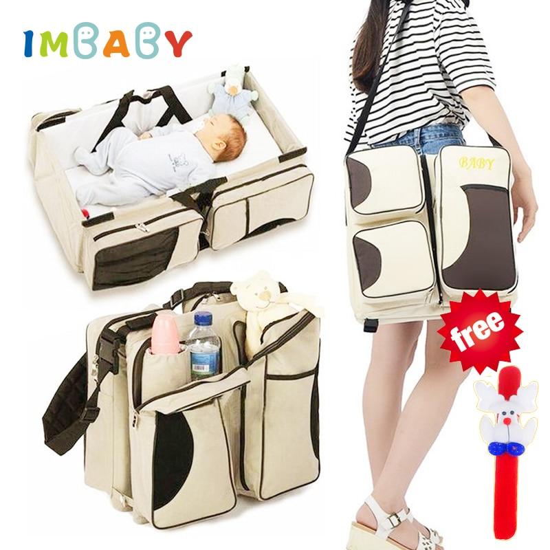 IMBABY Pliant Bébé Voyage Sac Berceaux Portable Voyage Lit Bébé Nacelle Avec 5 Poches Mini Bébé Transat Infantile de Couchage lit