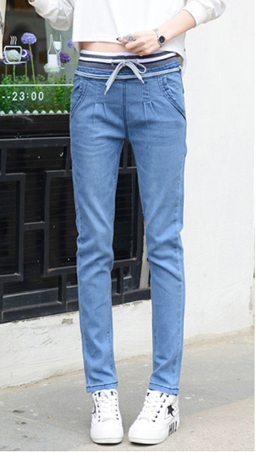 2018 female pencil pants blue women's straight jeans elastic waist feet trousers women's stretch pants New Plus size high waist
