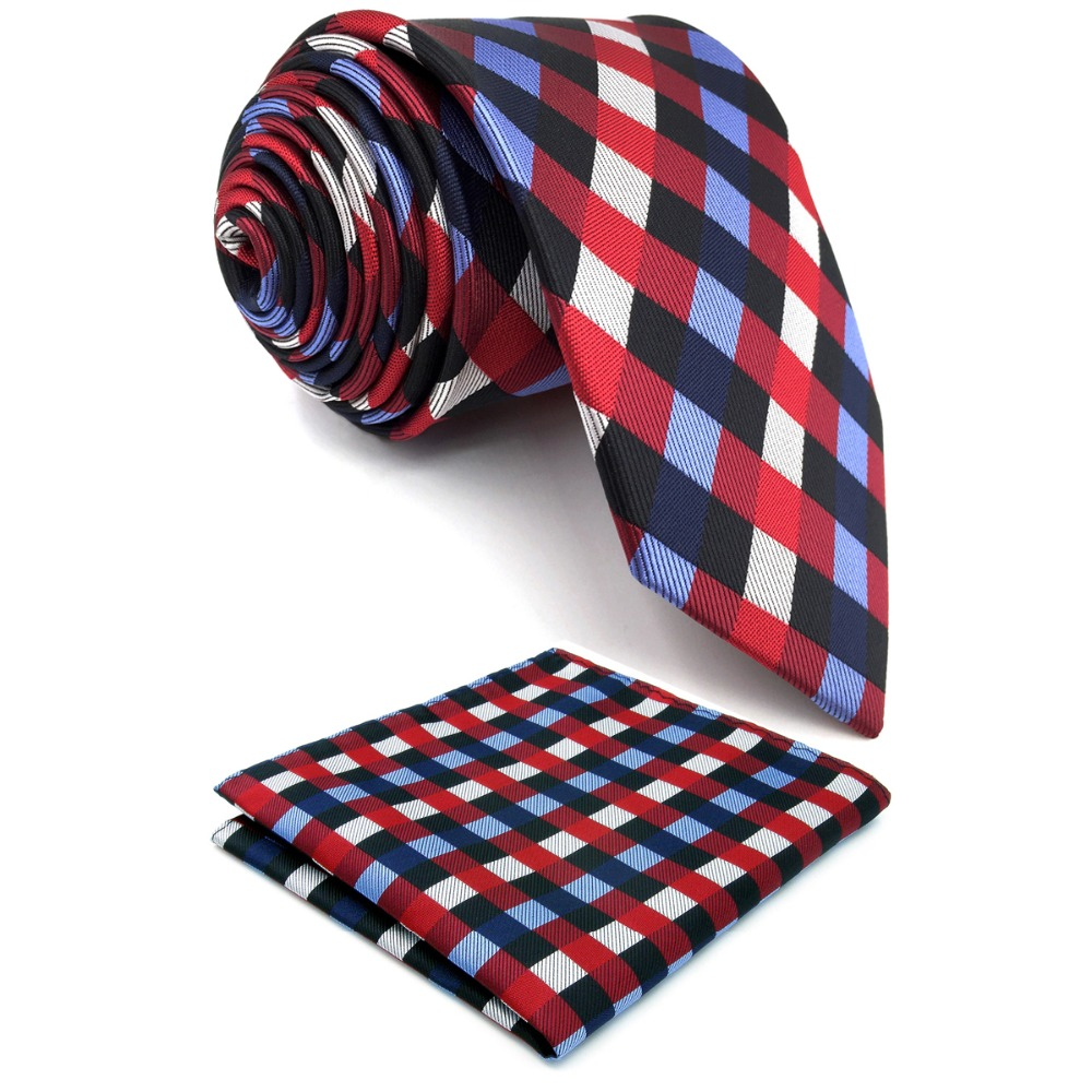 U2 Mens Ties Necktie Matching Hanky Extra Long Size 63 Navy Red Checked Silk Handmade Wedding Fashion Classic Brand New Dress