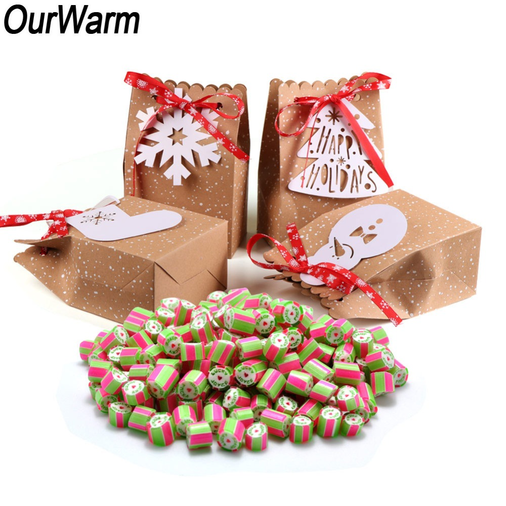 OurWarm 4pcs Christmas Kraft Paper Bags Cute Snowflake Christmas Tree Pendant Candy Boxes For 2019 New Year Party Favor Gift Bag