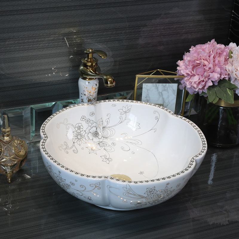 White flower glazed porcelain bathroom vanity bathroom sink bowl countertop Round Ceramic bathroom sink wash basin