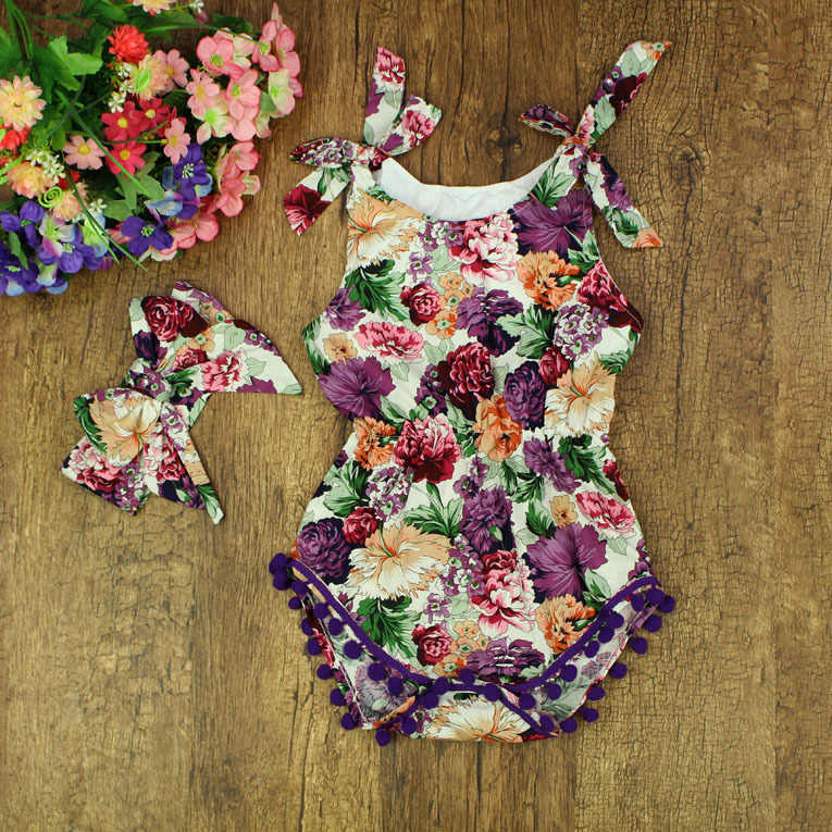 df31a745d3e0 Floral baby rompers baby girls sleeveless cotton clothes Baby Bubble  rompers Flowers design
