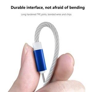 Image 3 - Cable brillante para carga de teléfono móvil, Cable de carga con luz LED, Micro USB tipo C para iPhone X, Samsung Galaxy S8, S9