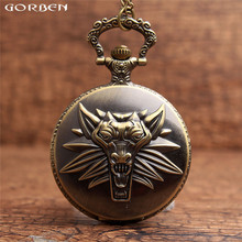Vintage Magic Game The WITCHER 3 WILD HUNT Case Quartz Pocket Watches Mens Men Women Necklace Watches With Long Chain P97 Gorben