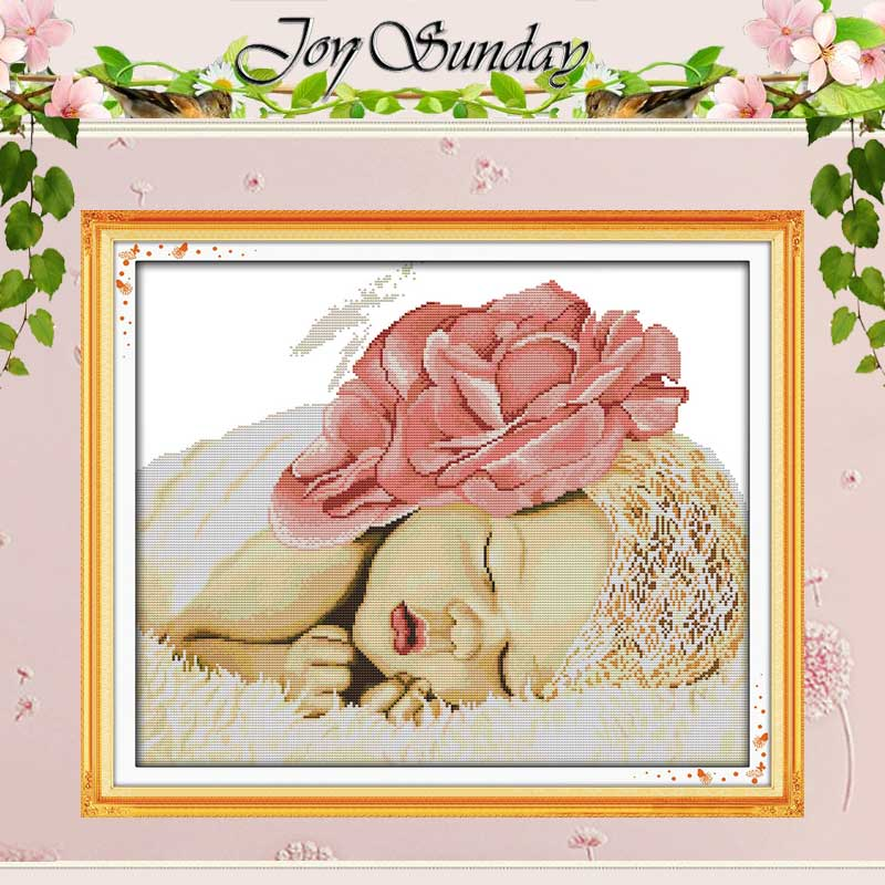 Sleeping Angel Baby Patterns räknade Cross Stitch 11CT 14CT Cross Stitch Sets Kinesiska Stitch Kit Broderi Needlework