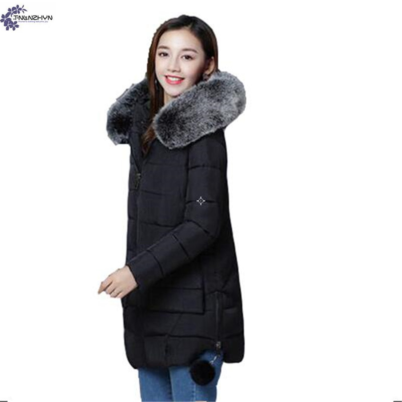 TNLNZHYN Women clothing Cotton coat winter Big yards high-end warm Thicken fur collar long-sleeved female Cotton jacket QQ173 women winter coat leisure big yards hooded fur collar jacket thick warm cotton parkas new style female students overcoat ok238