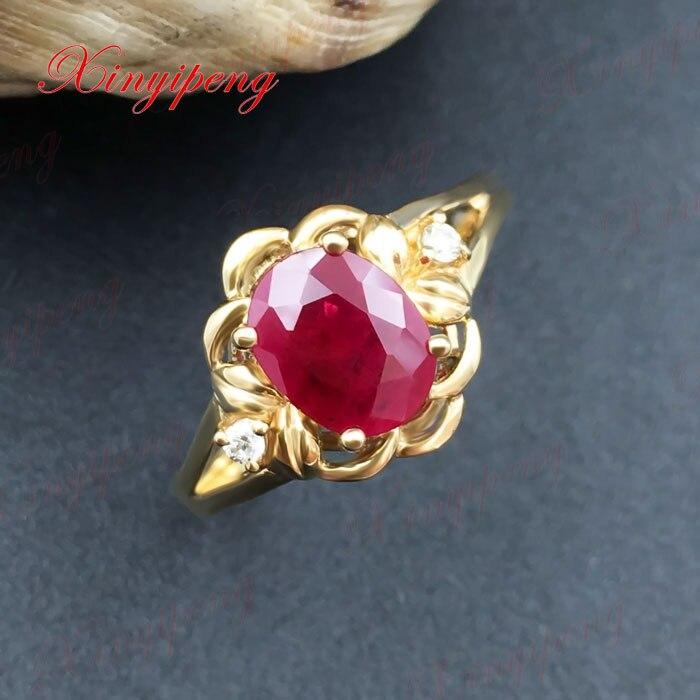 18 Karat Gold eingelegten natürlichen Rubinring Frauen Diamant A - Edlen Schmuck - Foto 3
