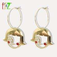 F. J4Z абсолютно новые ювелирные изделия шикарные серьги прекрасные полые девушки лицо контур сплава шаблон серьги кольца Подарки De Mujer Bijoux