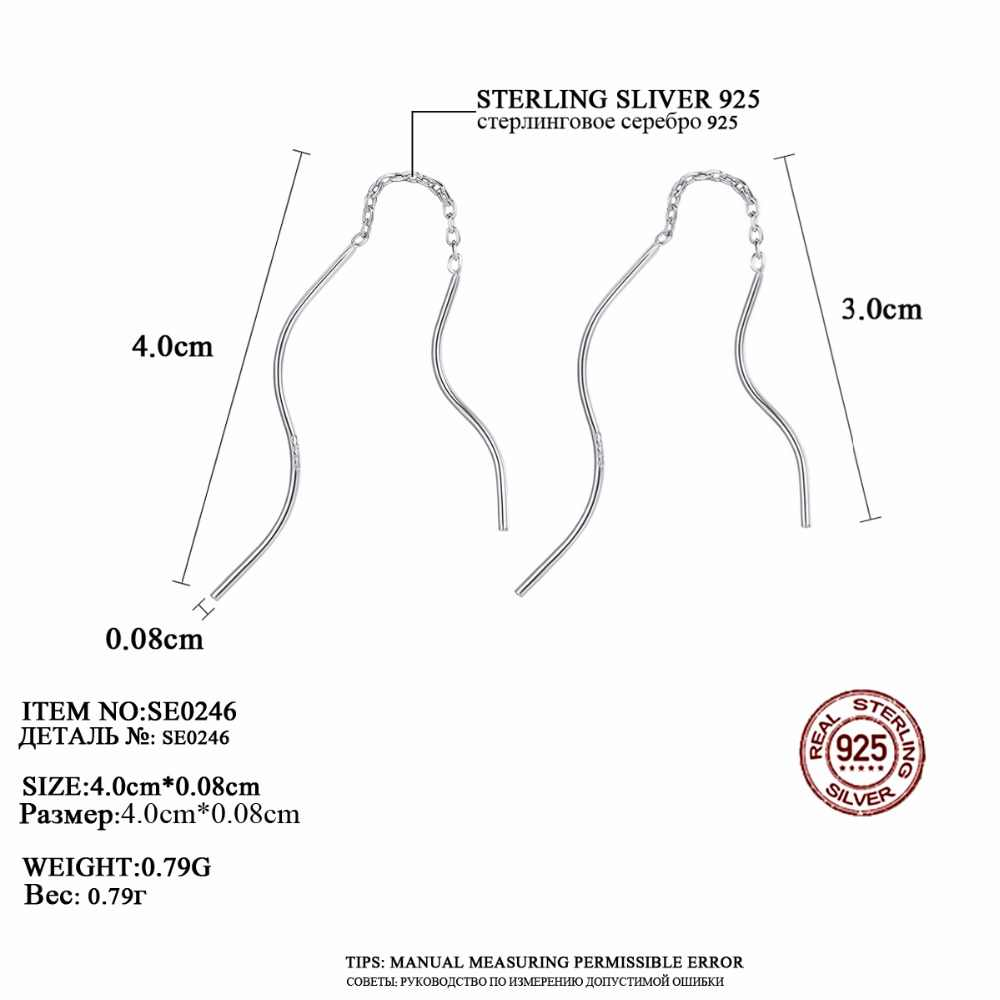 LUOTEEMI 2018 Real 100% 925 Sterling Silver Long Bar Curved Drop Earrings Vintage Simple Design For Women Party Jewelry