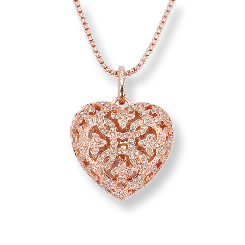 Thomas Rhinestone Paved Rose Gold Color Openable Arabesque Heart Pendant Women Necklace, Fashion Jewelry for Women TS N203
