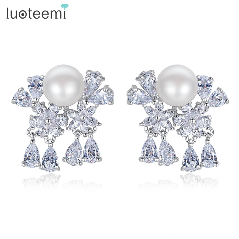 LUOTEEMI Fashion Water Drop Design Top Quality Earrings Cubic Zircon Stud Earring for Women Boucle D'oreille Pendientes Mujer image