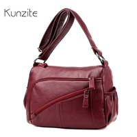 Kunzite Fashion Women Bag Solid Designer Leather Messenger Bags Fashion Soft Single Shoulder Bags With Double