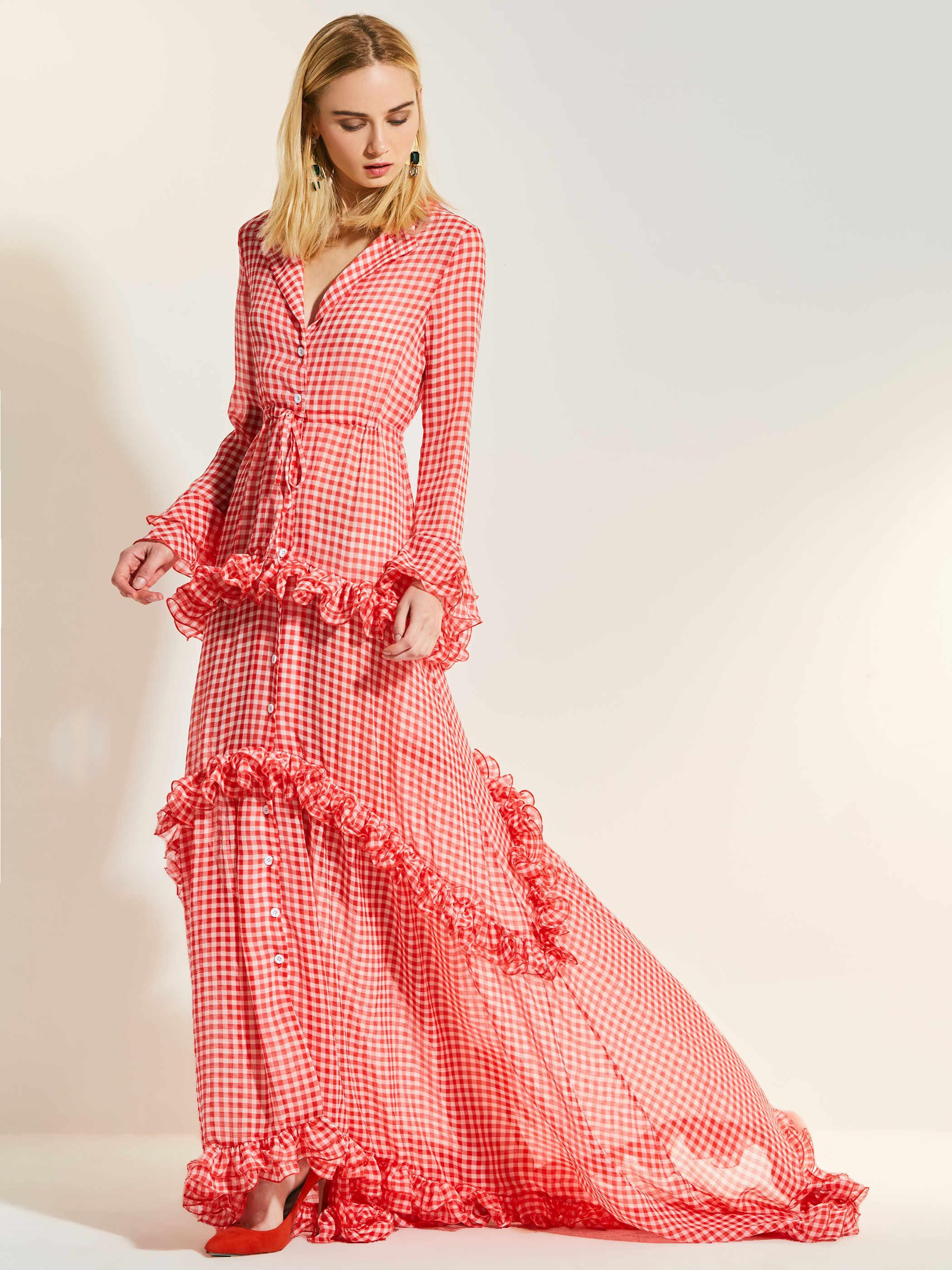 Женские макси платья повседневные милые элегантные OL летние вечерние красные свободные лацканы с высокой талией клетчатое асимметричное платье с пуговицами Falbala