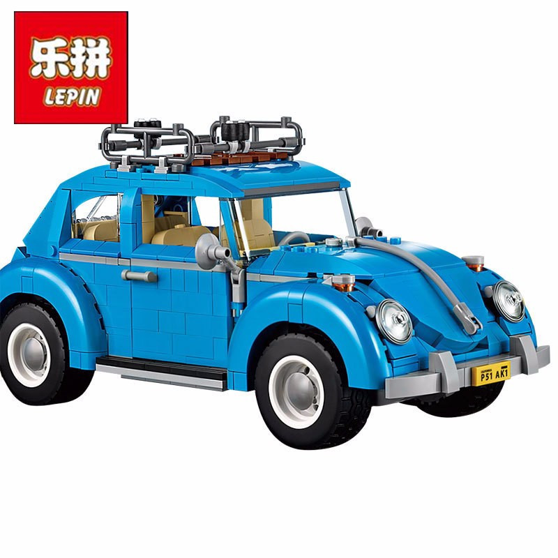 LEPIN 21003 Creator Series City Car Volkswagen Beetle Building Blocks Model Compatible 10252 Blue Technic Toys car usb sd aux adapter digital music changer mp3 converter for volkswagen beetle 2009 2011 fits select oem radios