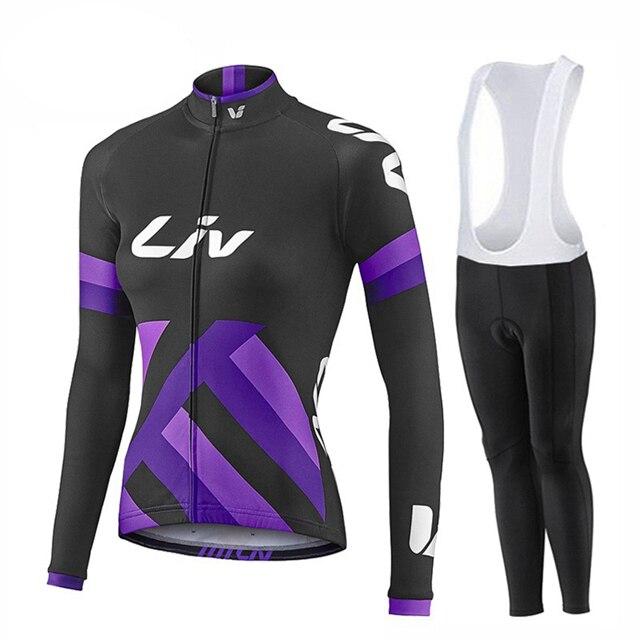 New LIV Women Clothing Bike Bicycle Long Sleeve Cycling Jersey MTB Cycling Jersey Bike Jersey Pants Set Breathable Riding