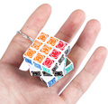 New Arrival Three Layer Mini Magic Cube Key Ring Happy Face Brain Teaser Toy Unique Design Educational Chain Game Puzzle