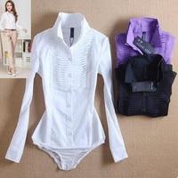 Nuove Donne di Modo OL collare del basamento camicia siamesi manica lunga workwear slim bianco nero viola Eleganti top camicetta