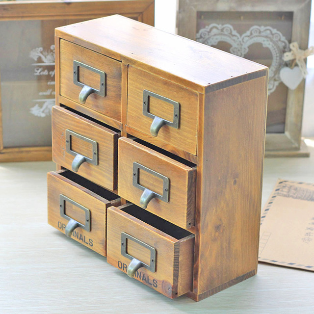 Creative Vintage Wooden Storage Box Ornaments Imitate Antique With Drawer Cabinet Home Decoration