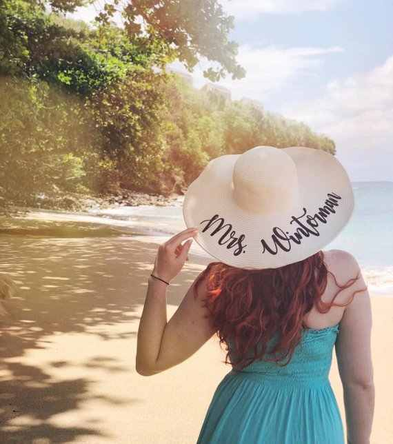 1016d943b8b personalized beach wedding bride floppy Mrs Sequin Sun Hats Honeymoon  bridesmaid maid of honor bridal shower