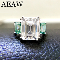 14k White Gold 5.3ct Carat Emerald DF Color Engagement Wedding with Two Green Moissanite Ring Test Positive Similar Forever One