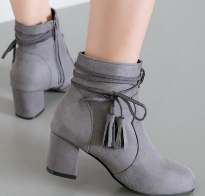 cda3c99636414 Chaussure G61166 Femmes Hauts gray Martin Bottes Talons Cheville Mujer  D hiver De Zapatos Chaussures Mariage beige Pompes Dames Femme Black Mode  ...
