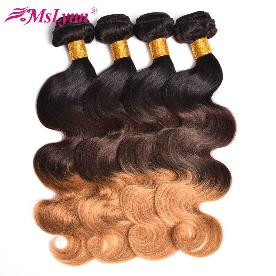 Ombre Hair Bundles Body Wave Bundlar T1B / 4/27 Brazilian Hair Weave - Mänskligt hår (svart) - Foto 3