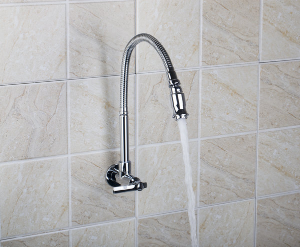 Torayvino Shower Head Chrome Swivel Sink Faucet Wall Mounted Single Cold Kitchen Rotation Vanity Sink Tap Faucet RQ8551-3/3