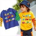 Hot sales sz80~110 children t-shirts for baby cartoon clothing  child tops tees  boys girls long sleeve t shirts cars