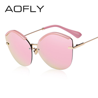 AOFLY 2017 Fashion Women Cat Eye Sunglasses Original Brand Design Sun Glasses Female Ultralight Glasses Mirror