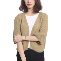 Women Sweater Open Stitch Puff Sleeve Autumn Winter Warm Sweater Cardigan Korean Tide Loose Wild Shawl
