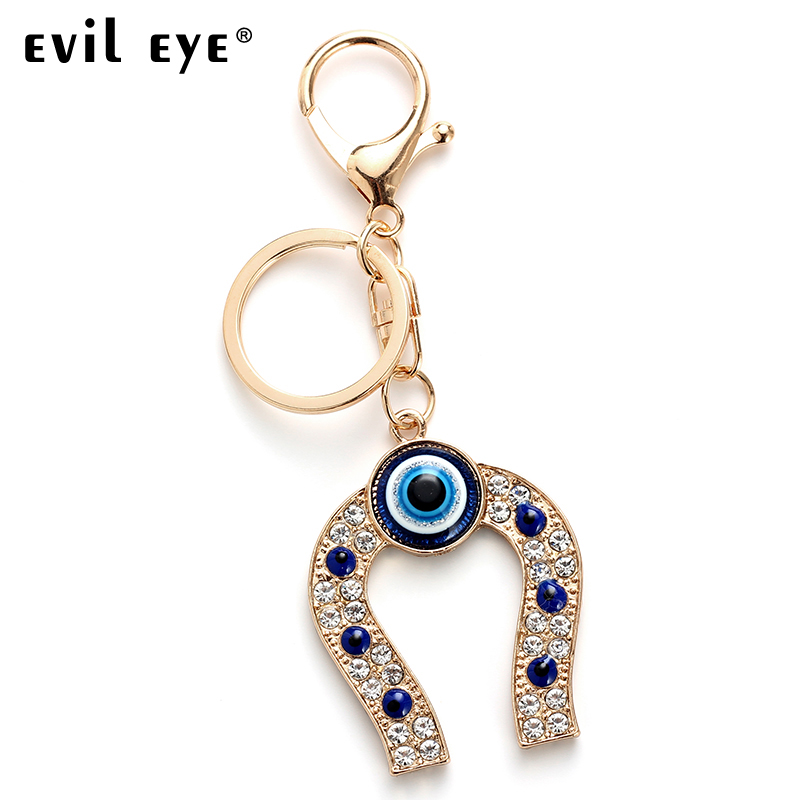 Evil Eye FREE SHIPPING 2018 Fashion Alloy Horseshoe Charm Car Keychain Jewelry Pendant With BULE EVIL EYE BEAD EY4714