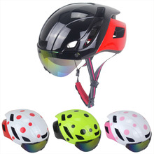 2018 Latest design Aero Road Bike Helmet with Sunglass Road Bicycle Cycling Helmet Adult 55-61cm