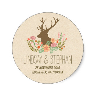3.8cm Romantic floral deer wedding stickers