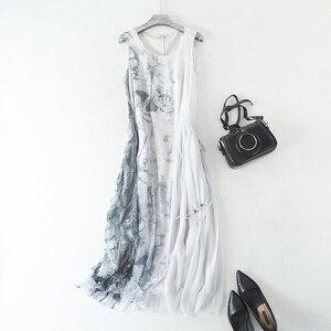 Image 2 - Sukienka kobiety 100% tkanina jedwabna line spadek talii projekt O Neck bez rękawów Sashes 2 kolory elegancka długa suknia moda 2019