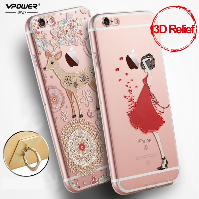 Vpower för iphone 6 6s tpu Väska 3D lättnad tecknad tjej fodral - Reservdelar och tillbehör för mobiltelefoner