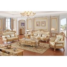 Классический итальянский Королевский Золотой резной мебель гостиной диван набор роскошный антикварный