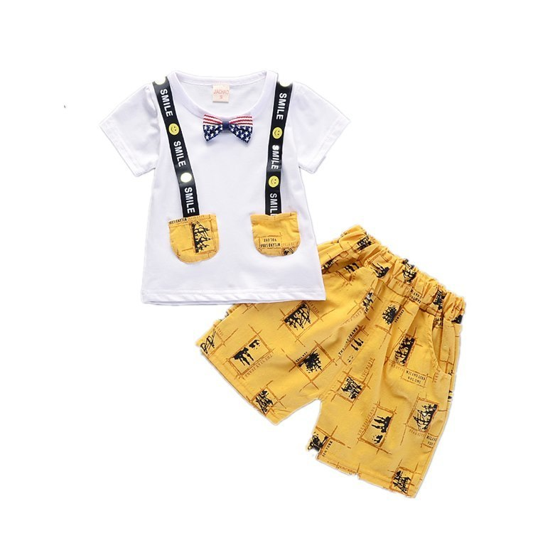 2018 New Hot Children Summer Clothes Sets Kids Printed Clothing Suit Smiley Face T Shirt Pants 2pcs Baby Time Boys Girls Wear children clothing set 2018 new baby girl motion suit child short sleeve leisure time twinset summer wear kids boys clothes