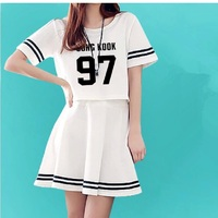 2016 Customize Summer Women S O Neck Kpop BTS SUGA JIMIN Dresses EXO Cropped Top Mini
