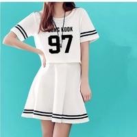 2017 bts kpop top + mini dress 2 peça set vestidos personalizar Vestidos de Verão das Mulheres O-pescoço SUGA JIMIN saia das mulheres Cortadas terno