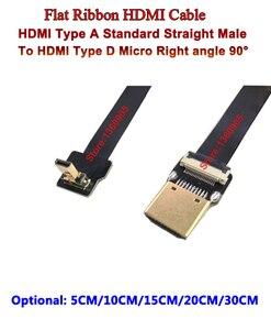 5 cm/10 cm/15 cm/20 cm/30 cm Flexível Super Macio Cabo HDMI FPV micro Reverso Macho Para Cima ângulo 90 para Reta Macho Padrão Para Sony A6500