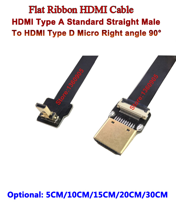 5CM/10CM/15CM/20CM/30CM Flex Super Soft HDMI Cable FPV Micro Reverse Male Up Angle 90 To Standard Male Straight For Sony A6500