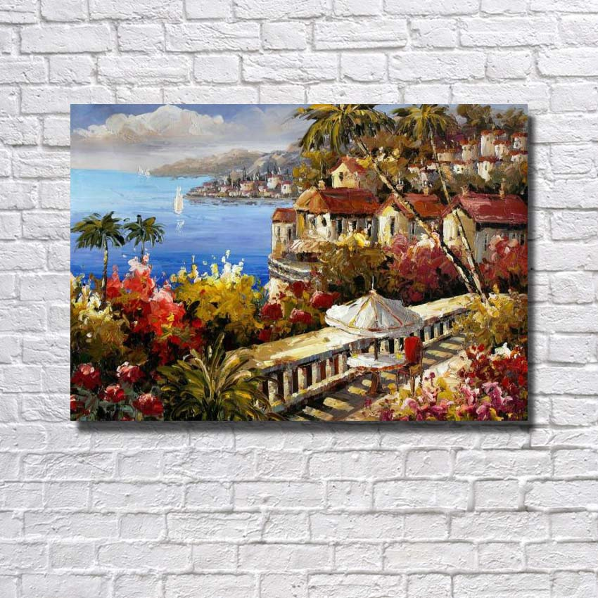 No frame Handmade Oil Painting On Canvas Modern seaside garden build wall art picture for Living Room home decoration